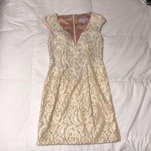 Jovani Nude Lace & Diamond Homecoming Dress